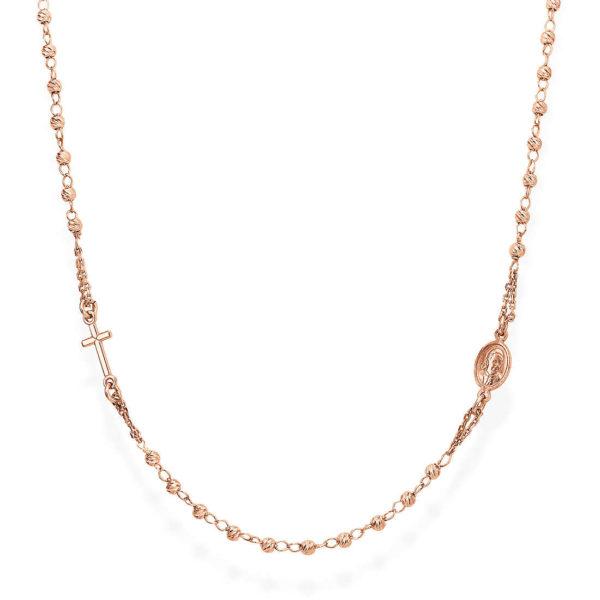 immagini dettagliate ultime versioni prezzo più economico Amazon collana rosario argento rosato - crord3